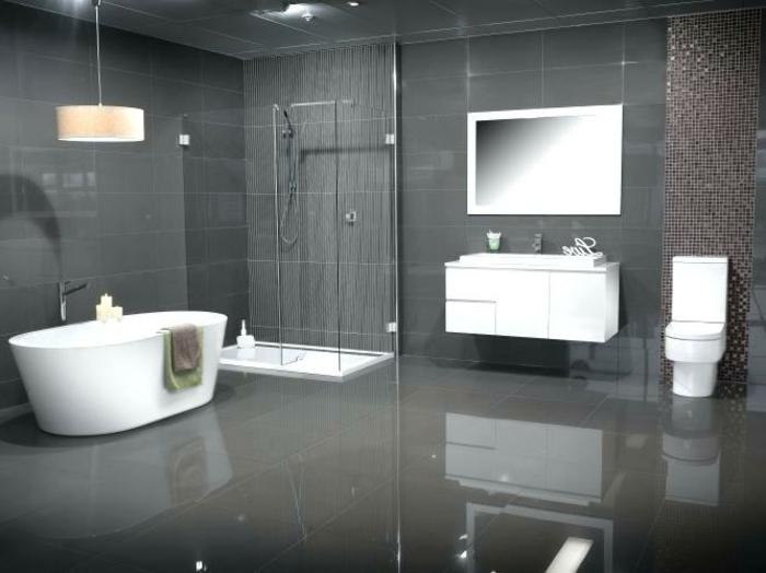 ideas de decoración baños modernos con ducha, cabina de ducha moderna, bañera exenta