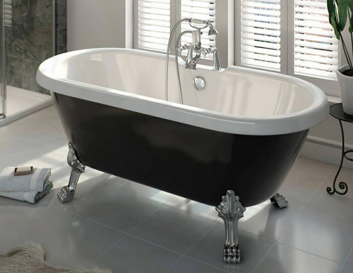 baños modernos con ducha y bañera patas garra, cuarto de baño decorado en gris y blanco
