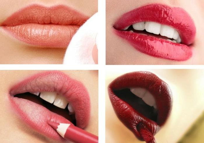 como maquillarse paso a paso, cuatro propuestas sobre como pintarse los labios en colores modernos