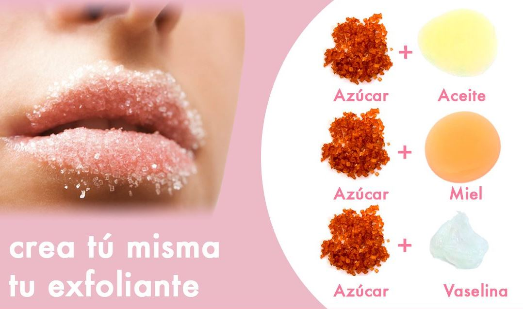 cómo pintarse los labios paso a paso, trucos caseros, exfoliante de labios a base de azúcar y aceites