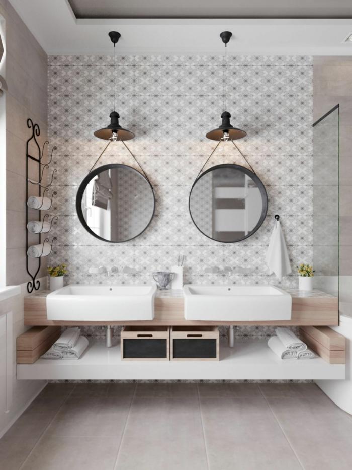 ideas de baños modernos con ducha decorados según las últimas tendencias, espejos modernos ovales