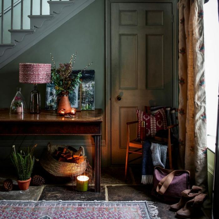 preciosa decoración en estilo bohemio, entraditas y recibidores decorados en boho chic, colores oscuros