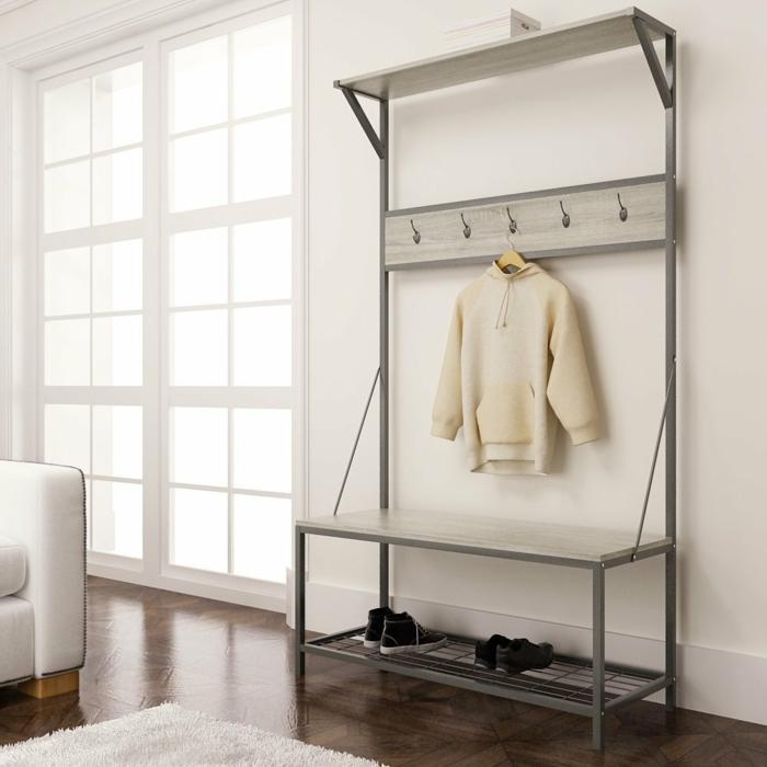 muebles recibidor estrecho multifuncionales, banco, armario de zapatos, decoracion de entrada en blanco
