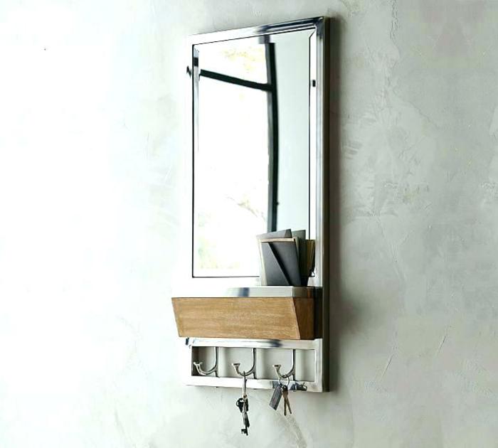 muebles recibidor estrecho de diseño, espejo con estantería multifuncional, paredes en gris