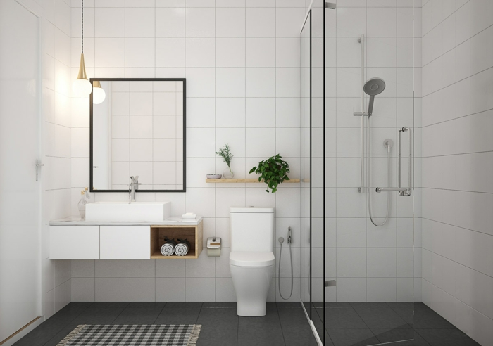 baños modernos con ducha decorados en gris y blanco, espejo moderno con forma rectangular
