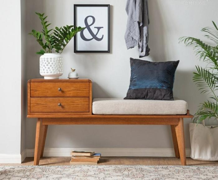 mueble recibidor estrecho de encanto, banco de madera moderno y detalles decorativos, decoración plantas verdes