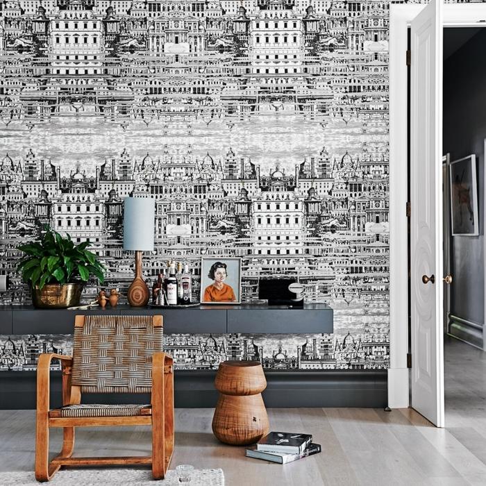 decoraciones para casas, vinilo en la pred con edificios en blanco y negro, silla de madera
