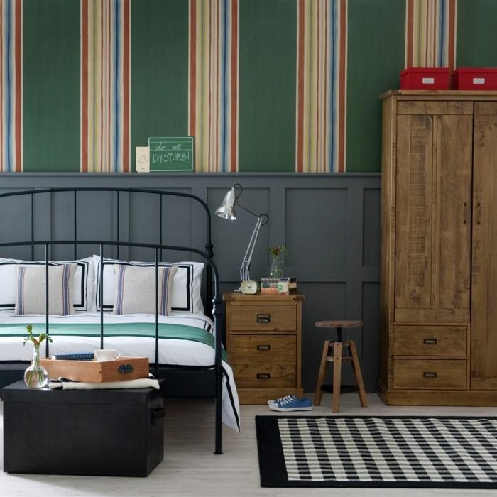 dormitorios infantiles, cama con elementos metálicos, alfombra de cuadros en blanco y negro, armario
