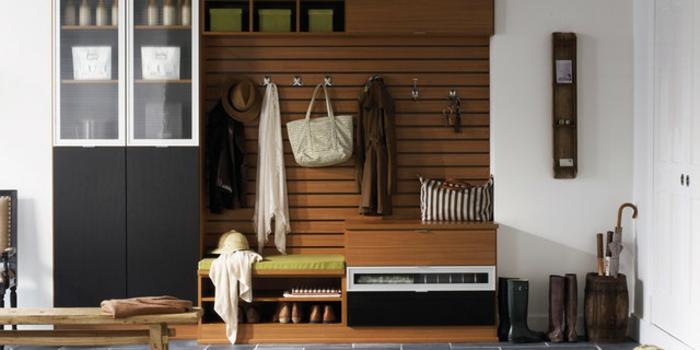 recibidores estrechos decorados con encanto, armario decorado en negro, grande armario multifuncional