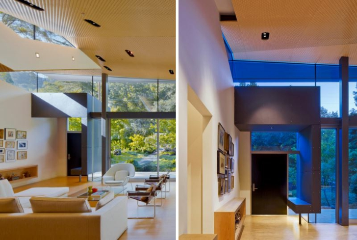 como decorar una entrada con encanto, espacio decorado en beige con grandes ventanales e interesantes elementos arquitectónicos