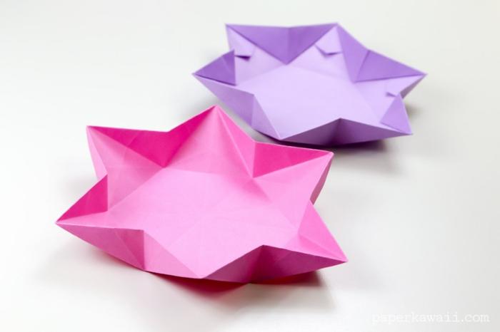 papiroflexia facil para niños y adultos, estrellas origami 3D hechas de papel en morado y lila