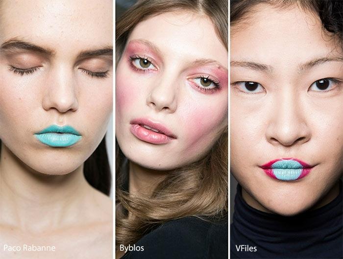 como maquillar los labios en colores extravagante, labios pintados en verde menta y rosado