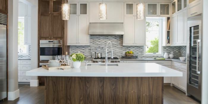 1001 ideas de decoraci n de cocinas modernas blancas for Cocinas pequenas decoradas modernas