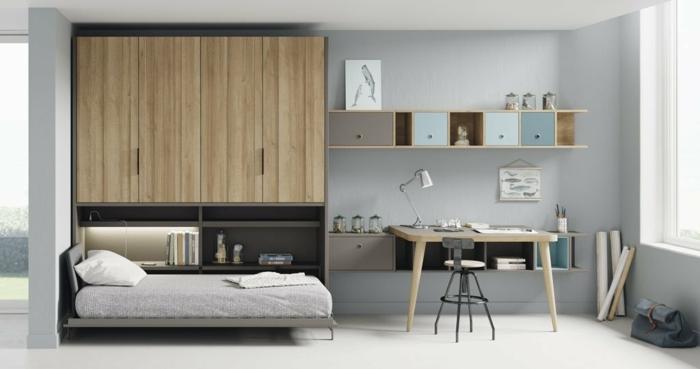 habitacion juvenil, cama con sábanas en gris claro, paredes en gris con estantería de madera