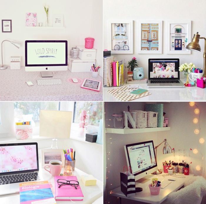 habitaciones juveniles, cuatro ideas de como decorar tu escritorio de chicas, con ordenador, libros