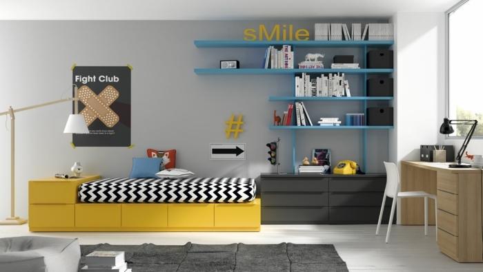 habitaciones juveniles, cama amarilla con sábanas en blanco y negro, estantería en azul, SMILE