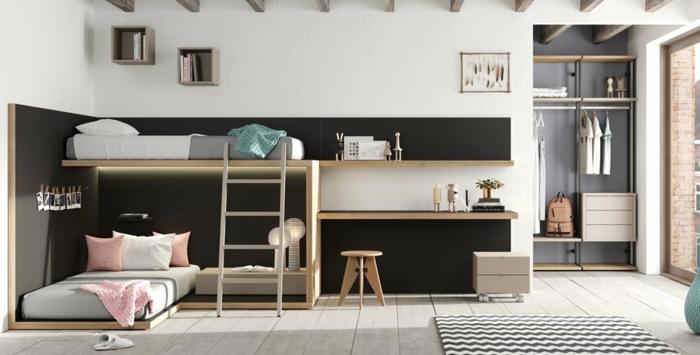 habitaciones juveniles , literas, en negro, con alfombra de ondas en blanco y negro, suelo de parquet