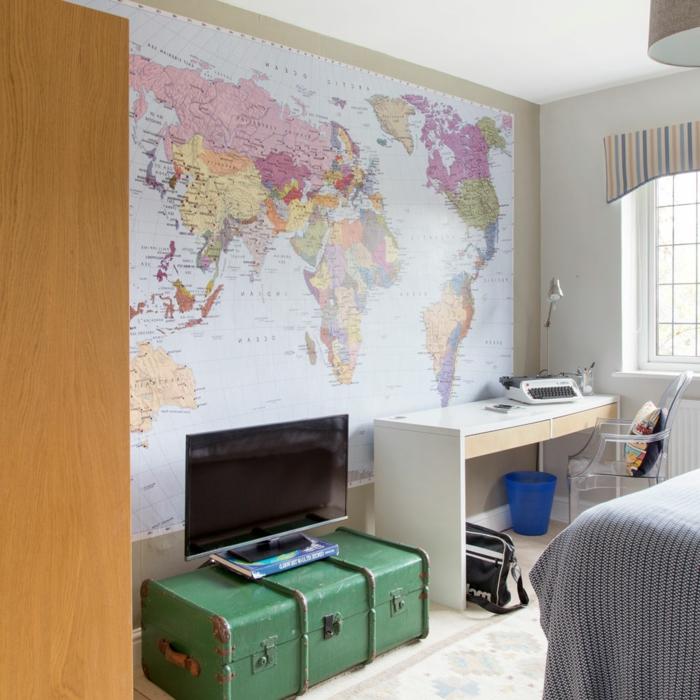 habitaciones juveniles modernas, el mapa del mundo en toda la pared una ida chula y original