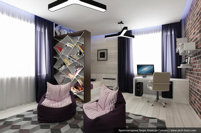 habitaciones juveniles niña, alfombra de figuras geométricas, puffs de color rojo oscuro con almohadas