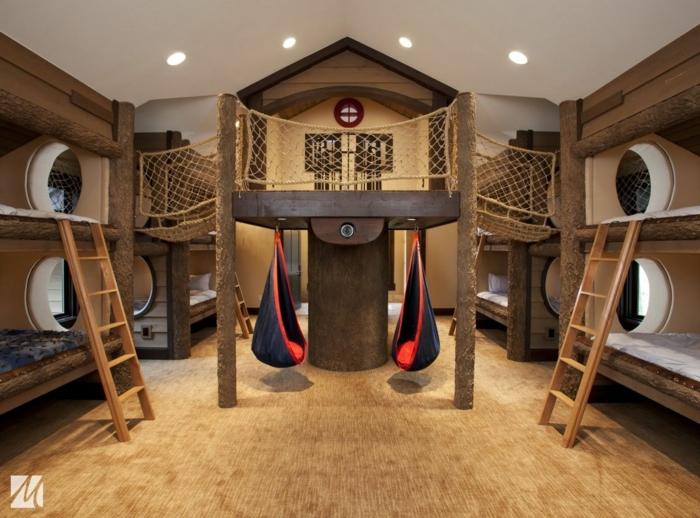 habitaciones juveniles modernas, habitación con muchas camas con escaleras hechas como un juego