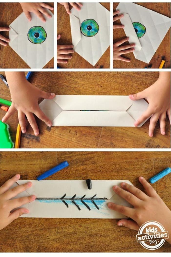 ideas de manualidades para niños, proyectos DIY con papel fáciles de hacer, como hacer papiroflexia paso a paso