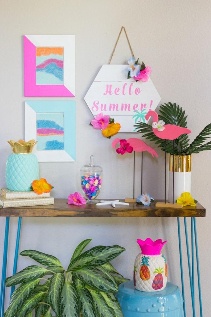 decoración en colores llamativos y frescos para adornar la casa en verano, manualidades faciles para hacer en casa
