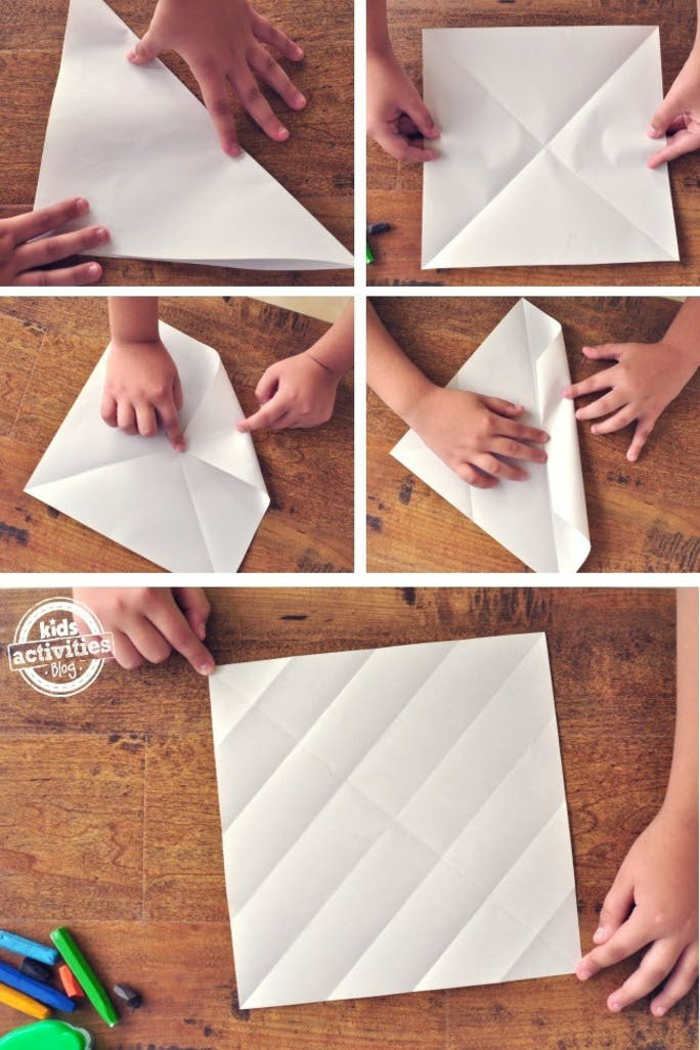 papiroflexia paso a paso , proyectos DIY para niños, como doblar una hoja de papel para conseguir la forma de un barco