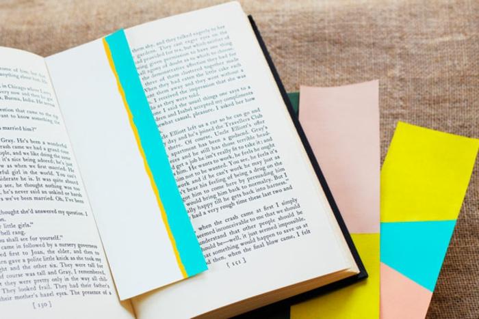 separadores de libros originales hechos a mano, marcarpaginas decorados en colores llamativos