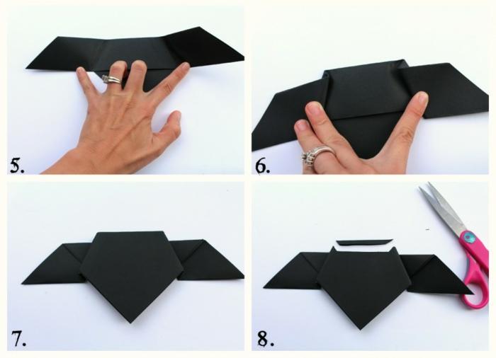 tutoriales DIY de papiroflexia animales paso a paso, murciélago hecho con papel, tutoriales en fotos