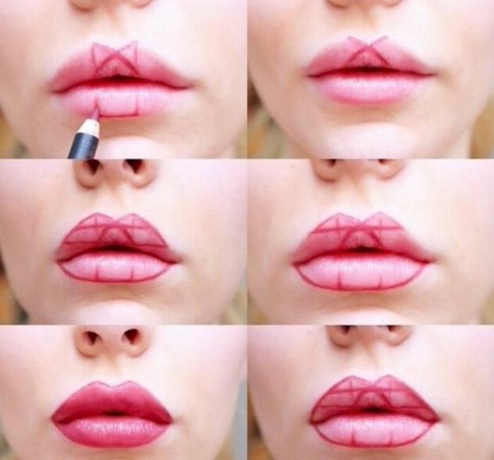 como maquillar los labios para conseguir un efecto visual de labios mas gruesos paso a paso