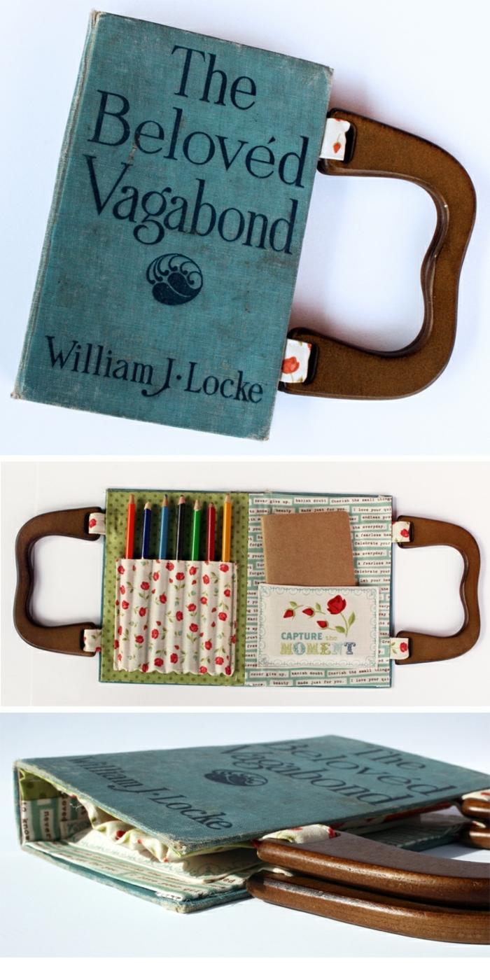 ideas para regalar a una amiga, bolsa hecha de un libro con magas de madera, un regalo muy original y chulo