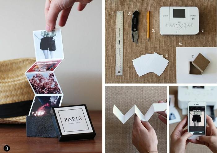 ideas para regalar a una amiga, pequeño álbum con fotos en una caja, materiales necesarios para hacerlo