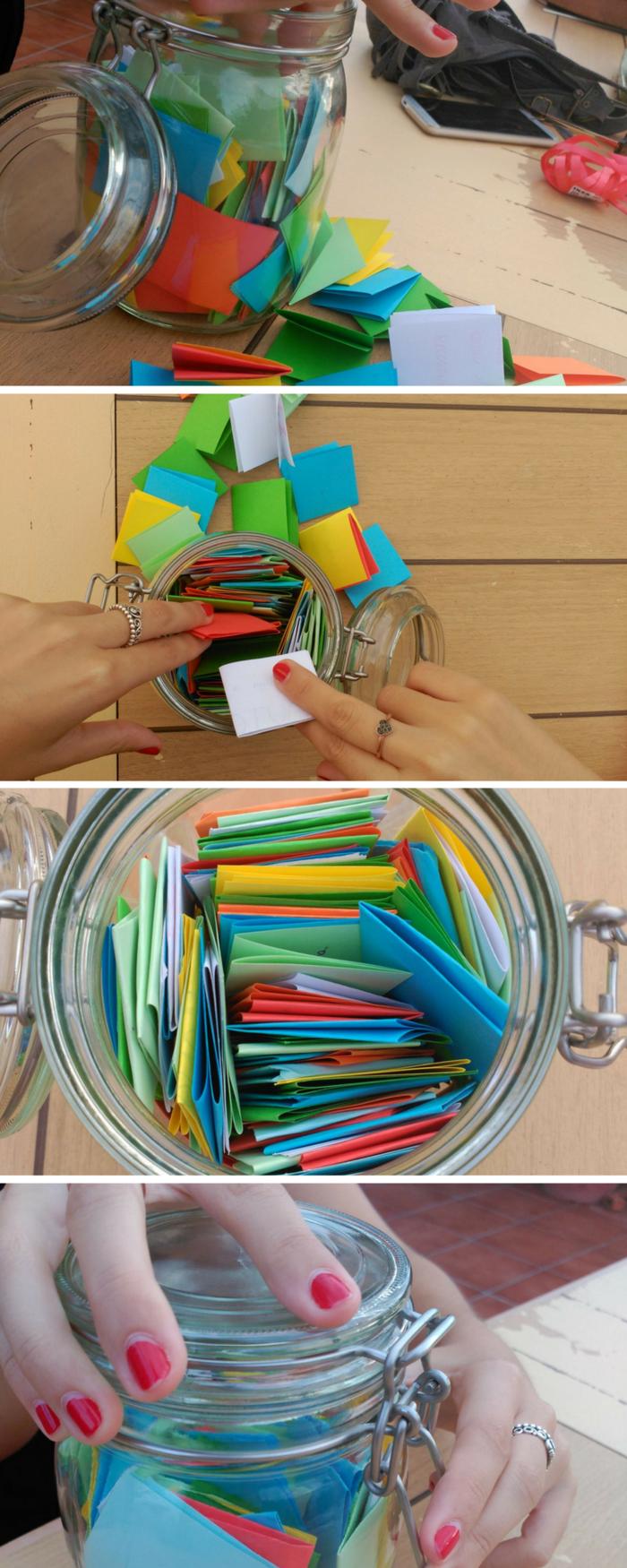 ideas para regalos de cumpleaños, bote de vidrio con suertes o frases escritas en papeles de colores