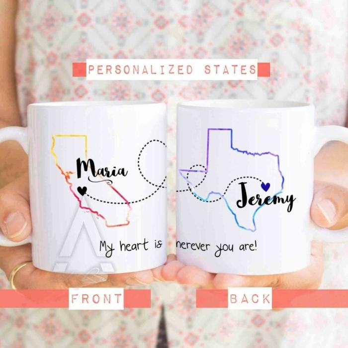 ideas para regalos de cumpleaños, vasos de café o té con nombre y mapas dibujados, personalized states