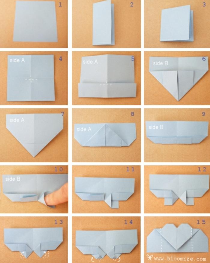 pasos para hacer un corazón originami de papel, ideas sobre como hacer manualidades para regalar