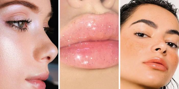 ideas sobre como aprender a maquillarse, fotos con tutoriales, labios en tonos nude brillantes