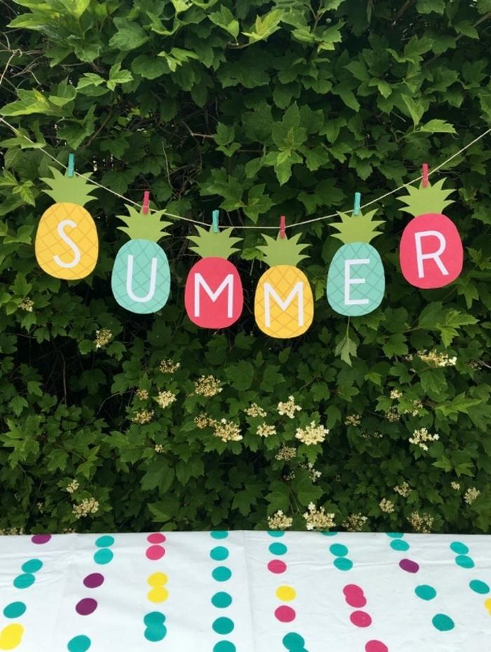 guirnalda decorativa para hacer fiestas al aire libre, ideas de actividades y manualidades para el verano