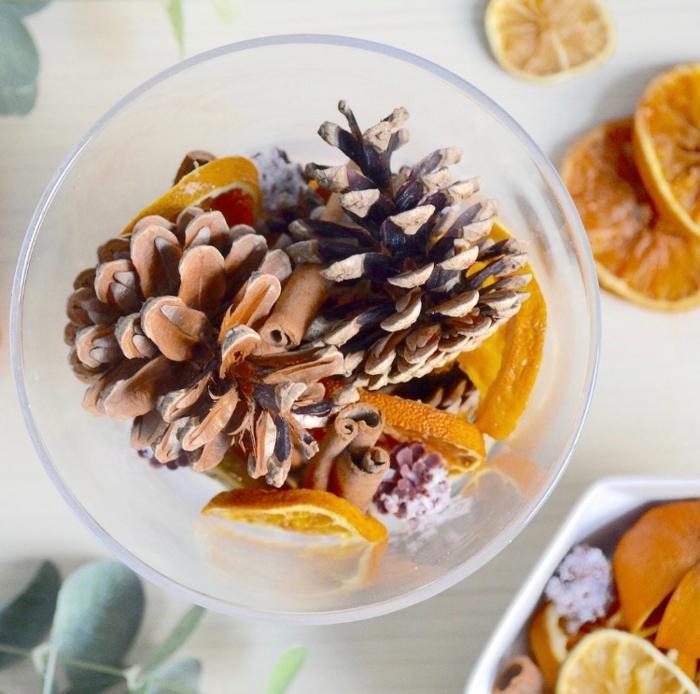 manualidades otoño para decorar el hogar, jarrón lleno de piñas, palos de canela y frutas secas