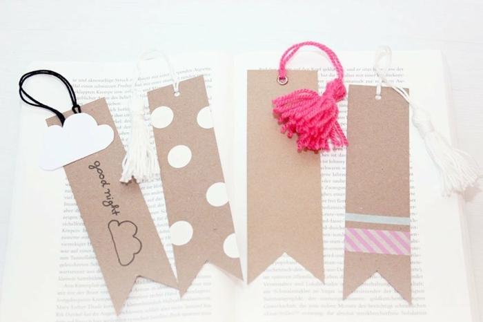 ideas de separadores de libros de cartón personalizados, bonitas propuestas DIY para hacer en casa