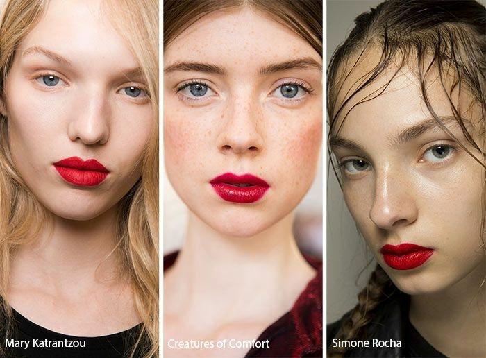 ideas sobre como maquillar los labios según las últimas tendencias, labios en rojo llamativo efecto humedo