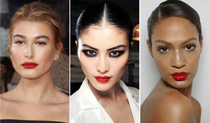 colores en tendencia 2018, mujeres con labios en color rojo fuego, maquillaje clásico y glamour
