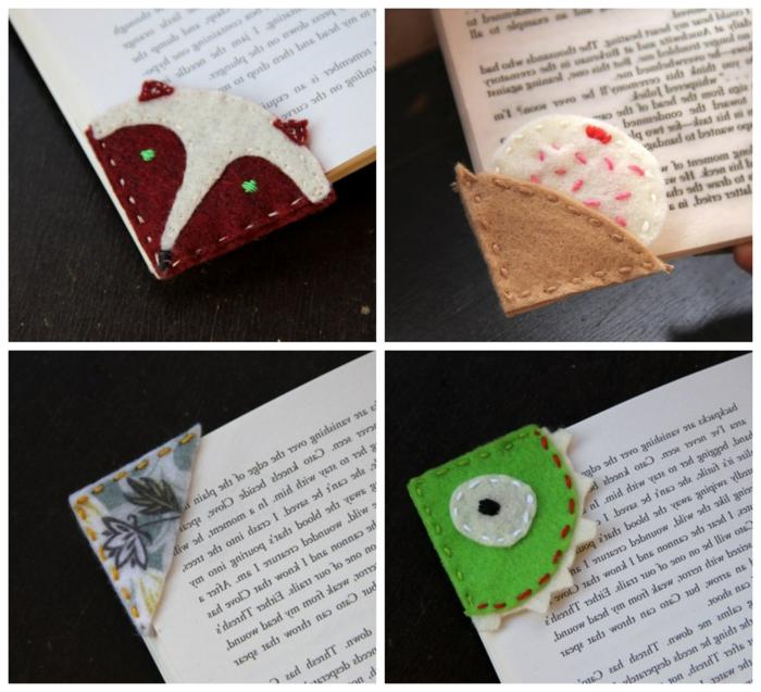 cuatro ideas de marcarpaginas infantiles hechos de fieltro, pequeños detalles para regalar DIY