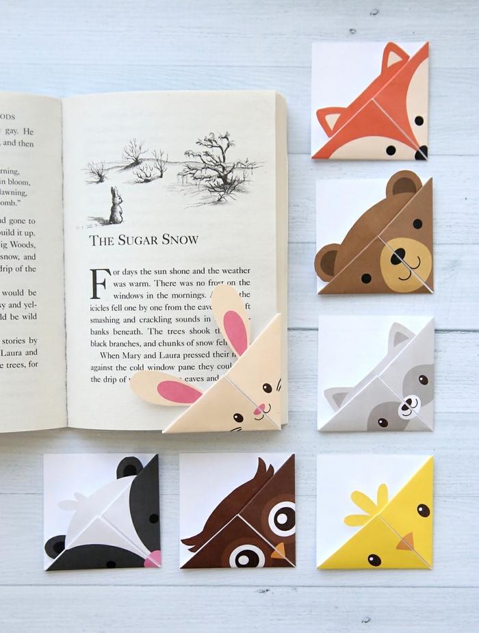 bonitos separadores de libros infantiles con caras de animales, manualidades para niños