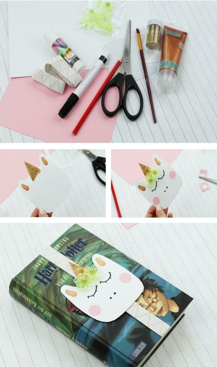 pasos para hacer un marcapaginas original de cartón y cinta elástica, marcarpaginas infantiles