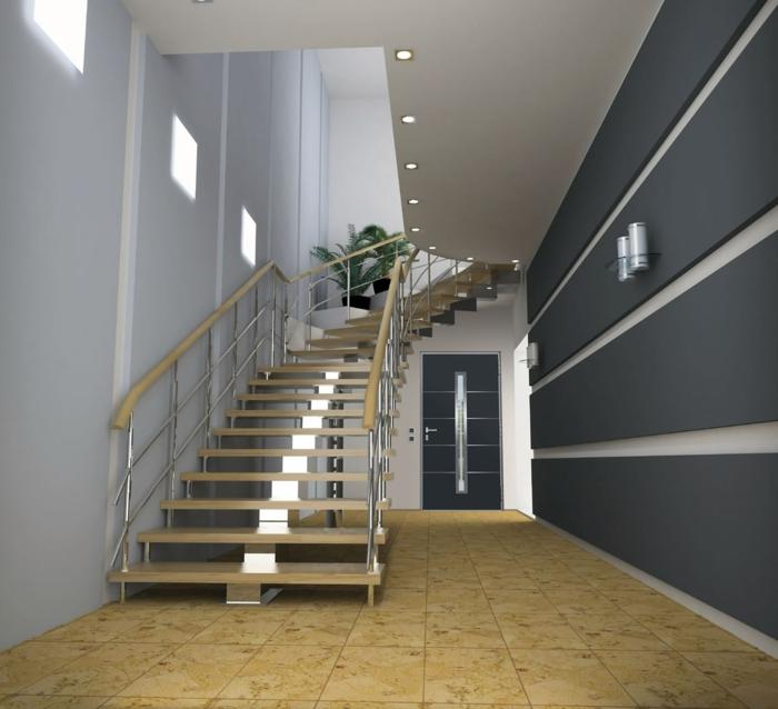 cómo decorar un recibidor grande con escaleras, suelo de baldosas en beige y paredes en los tonos del gris