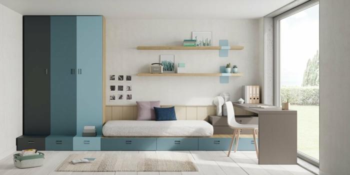 muebles juveniles, armario de colores en azul claro, más oscuro y negro con suelo de parquet