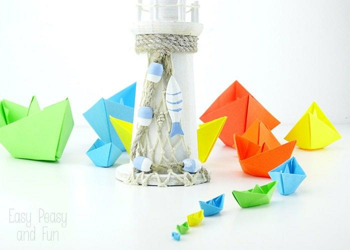 barcos coloridos hechos de papel, manualidades con papel super fáciles de hacer paso a paso