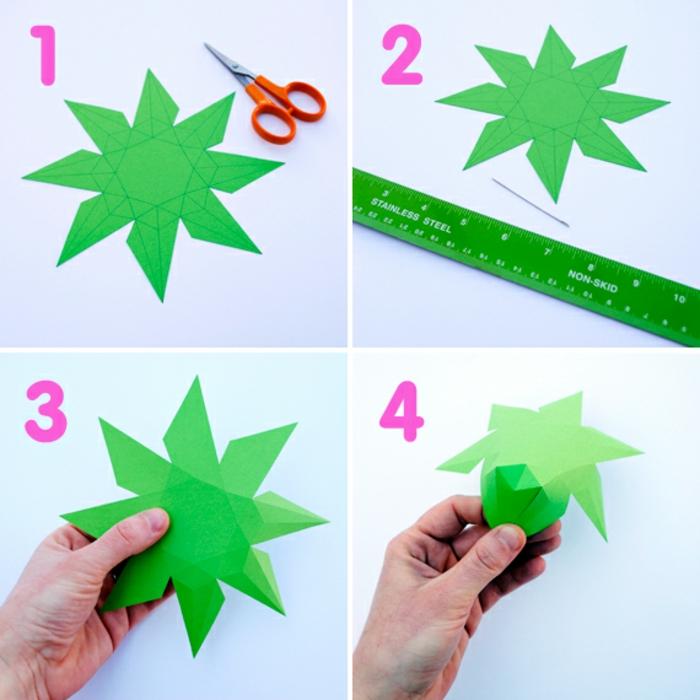 tutoriales en imágines sobre como hacer papiroflexia, pequeños detalles hechos con papel, diamantes de papel verde