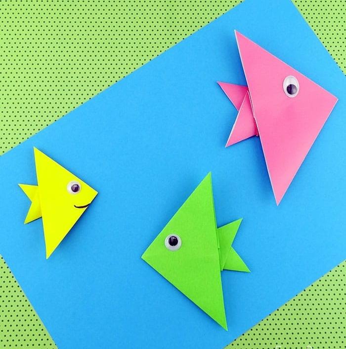 peces origami super fáciles de hacer, bonitas ideas de manualidades con papel, como hacer papiroflexia paso a paso