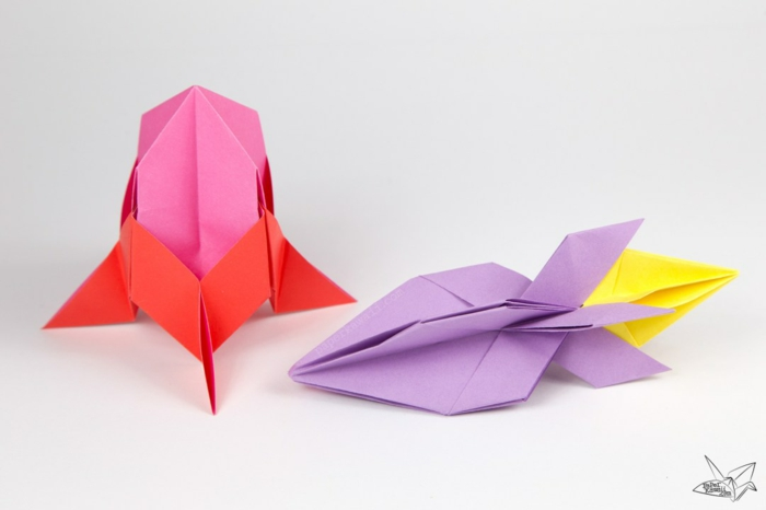 como hacer papiroflexia paso a paso, naves espaciales hechos con papel, ideas DIY fáciles de hacer